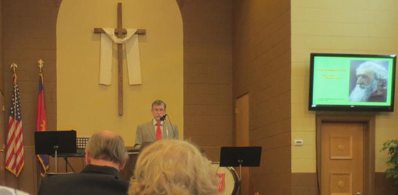 Jim speaking at SA 125th Anniversary service, Helena, 2013